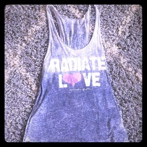 "Spiritual gangster ""radiate love"" semi sheer tank"